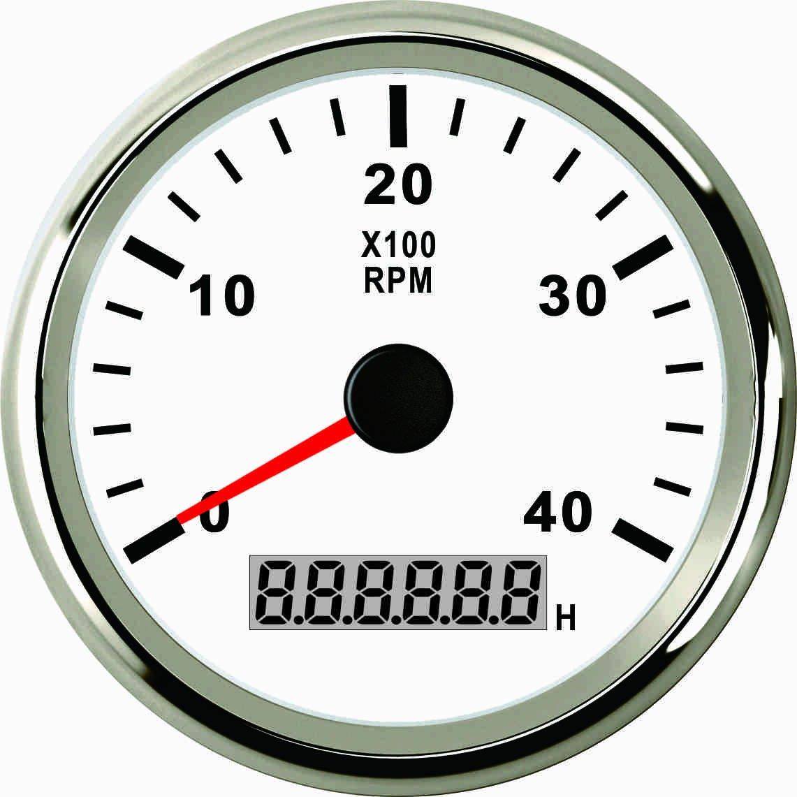 Tacó metro Medidor de RPM con contador de horas para coche camió n barco yate 0 –  4000rpm 85 mm con retroiluminació n ELING
