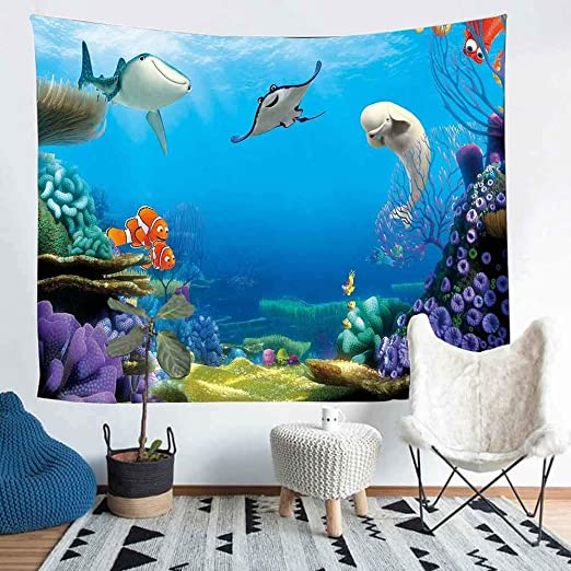 Amazon Com Simsant Clownfish Nemo Tapestry 80 X60 203x152cm Finding Nemo Underwater World Tapestry Photo Background Decoration Wall Hanging For Birthday Party Family Room Bedroom Decor Sils1264 Home Kitchen