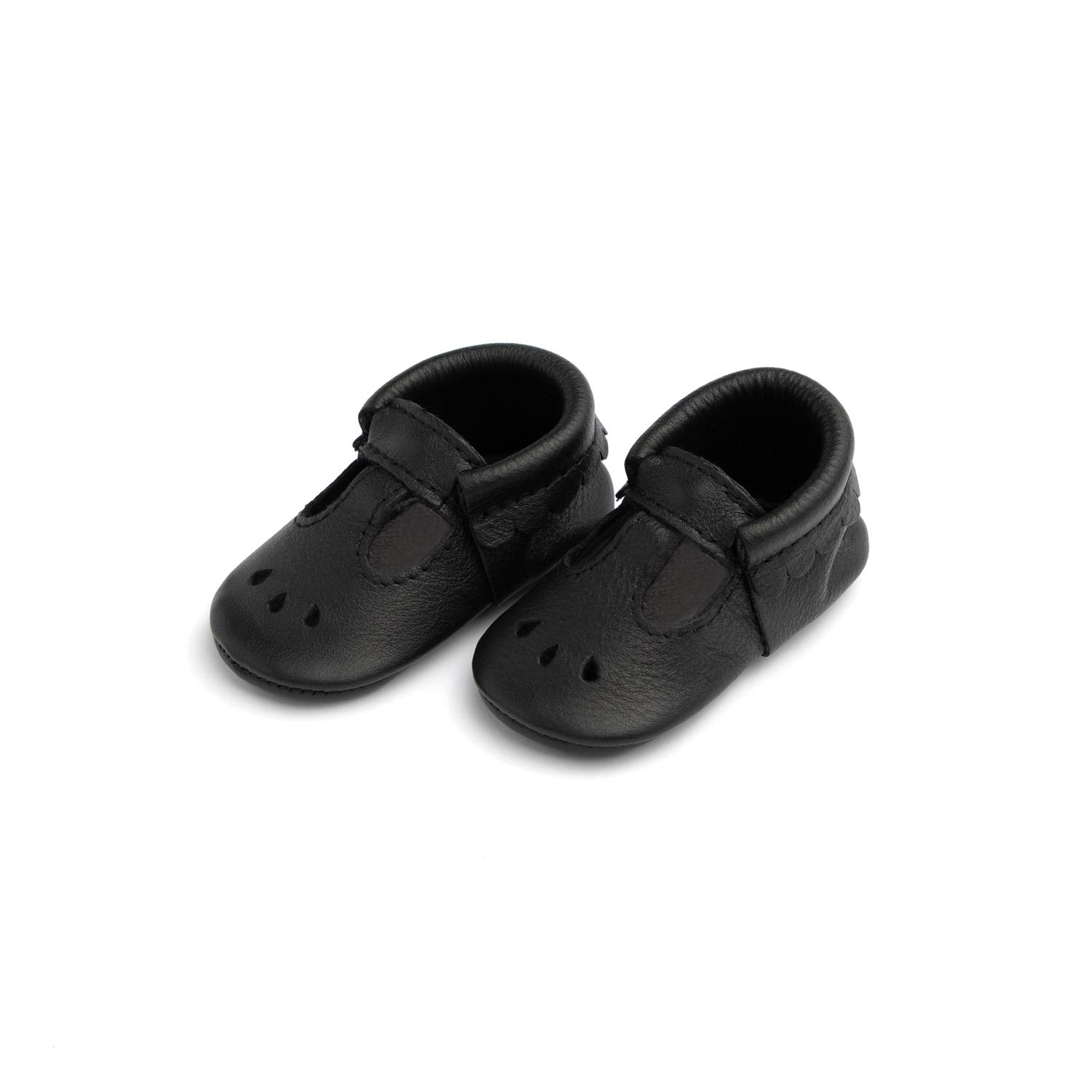Freshly Picked - Rubber Mini Sole Leather Mary Jane Moccasins - Toddler Girl Shoes - Size 3 Ebony Black by Freshly Picked