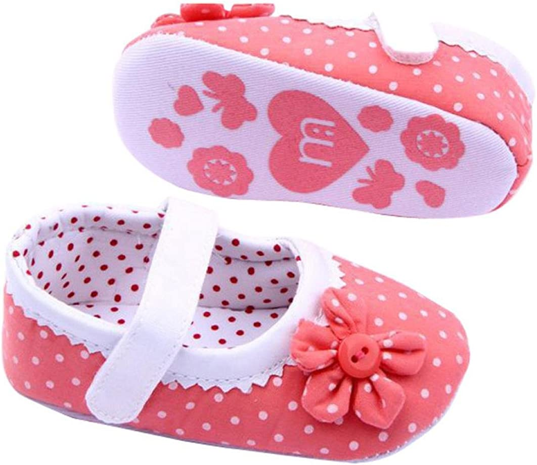 MONsin Baby Shoes Girl First Walkers,Summer Baby Girls PU Leather Flower Soft Sole Toddler Pink Red Shoes