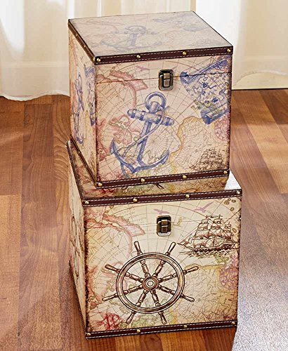 The Lakeside Collection Set of 2 Decorative Trunks Nautical by The Lakeside Collection