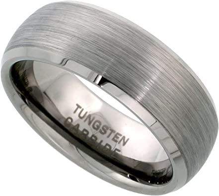Sizes 7 to 14 Tungsten Carbide 8 mm Dome Wedding Band Ring Satin Finished Mirror Beveled Edges
