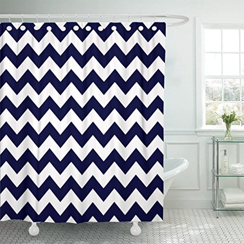 Accrocn Waterproof Shower Curtain Curtains Fabric Chevron Pattern Navy Blue and Whites Zigzag Extra Long 72x78 Inches Decorative Bathroom Odorless Eco Friendly