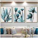 Lienzo Arte De La Pared Lienzo Decoración Lienzo Pintura Flores Cartel Azul Floral Impresión Del Arte De La Pared Para…