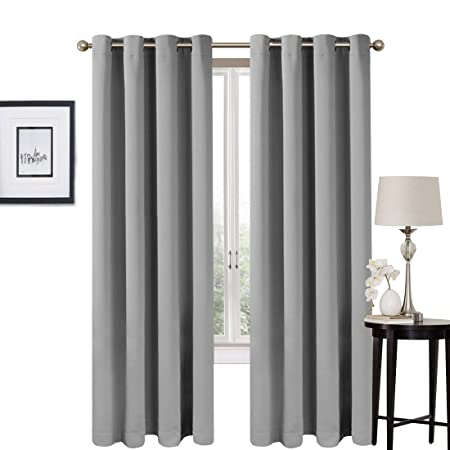 EASELAND Blackout Curtains 2 Panels Set Thermal Insulated Window Treatment Solid Eyelet Darkening Curtain For Living