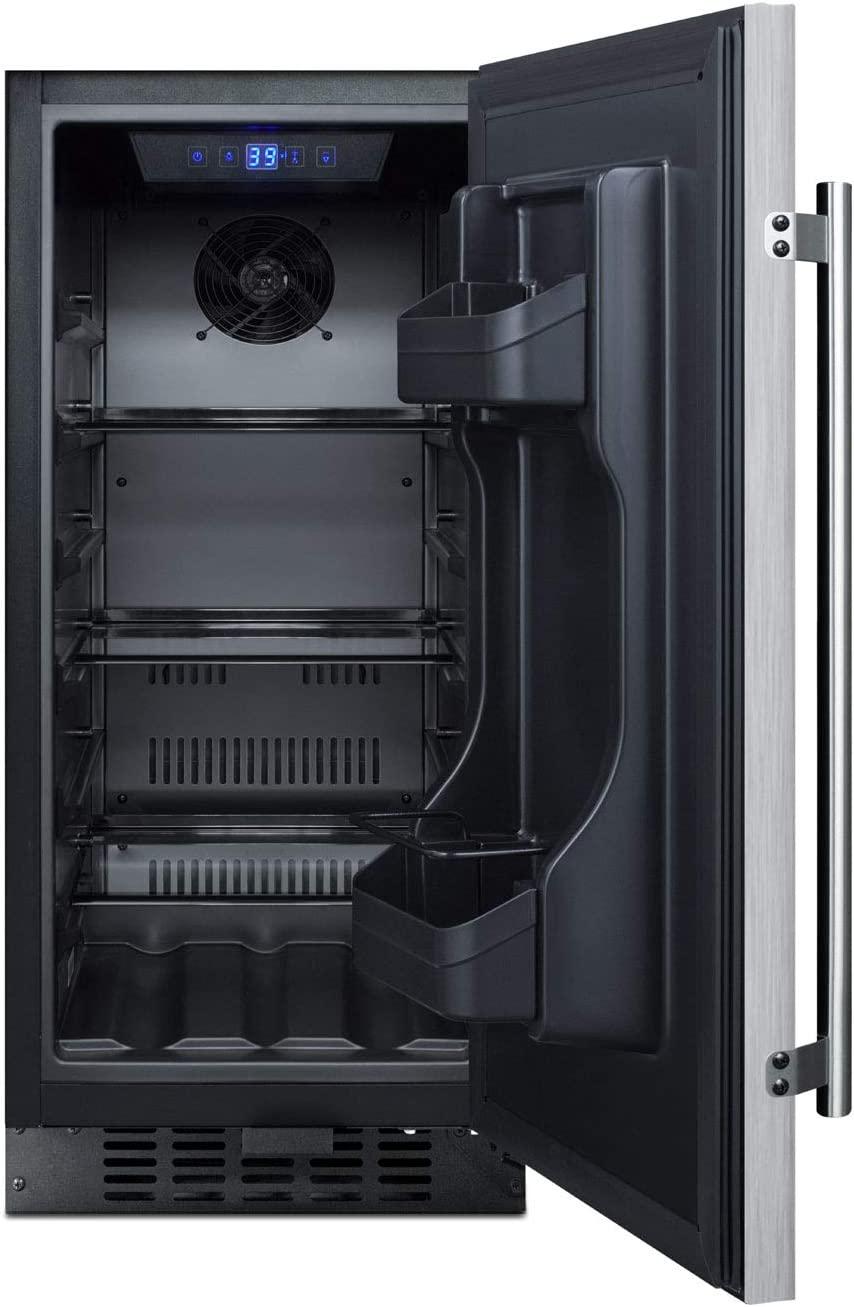 Lock and Stainless Steel Wrapped Exterior Summit Appliance ALR15BCSS ADA Compliant 15 Wide All-refrigerator for Built-in or Freestanding Use with Digital Controls LED Light