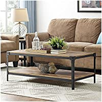 Walker Edison Angle Iron Rustic Wood Coffee Table in Barnwood