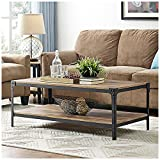 Walker Edison Angle Iron Rustic Wood Coffee Table in Barnwood For Sale