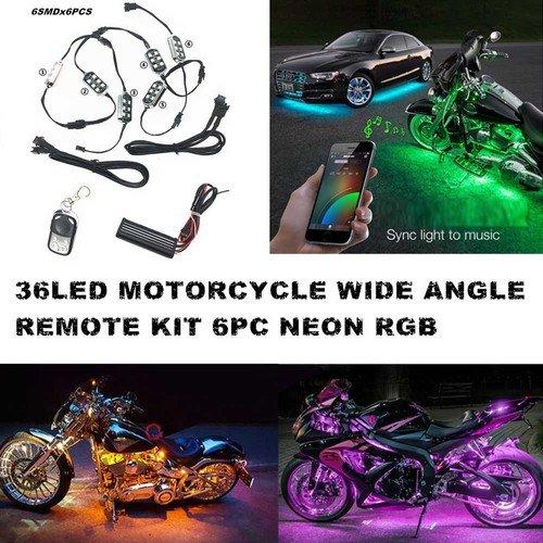 Set di illuminazione al neon per auto e moto, 6 strisce con RGB LED a 18 colori, luci che puntano verso il basso, con 1 telecomando 6strisce con RGB LED a 18 colori con 1telecomando zimo