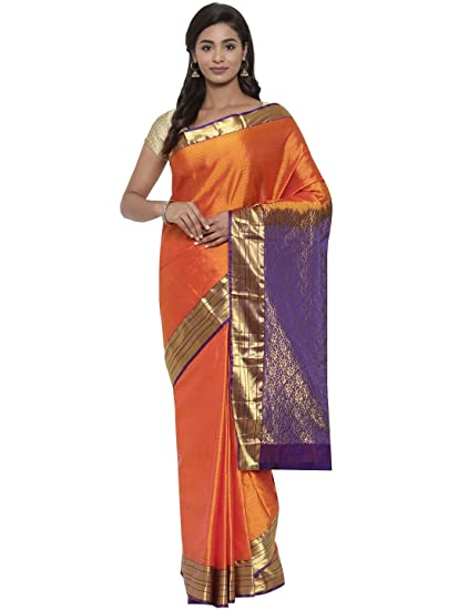 2beb9f3b18 CLASSICATE From the house of The Chennai Silks Women's Kanjivaram Silk Saree  (CCMYSS7810, Orange): Amazon.in: Clothing & Accessories