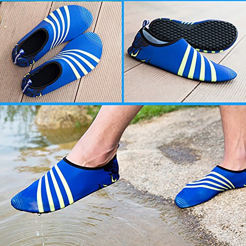 Leezo Unisex Adult Summer Outdoor Water Shoes Aqua Socks Quick-Dry Breather Sports Skin Shoes for Beach Swim Surf Yoga Exercise Blue CCrA1ov8xI
