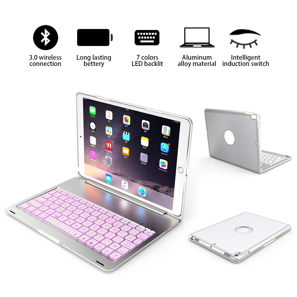 iPad pro 10.5 Bluetooth keyboard case, Wireless Bluetooth Keyboard Cover for iPad pro 10.5 inch(A1701/A1709), Fit Protective Hard Shell Case 7 Colors LED Backlit, thin / light / portable (Silver)