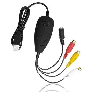IIEASY USB 2.0 Video Grabber con audio - VHS a DVD Converter tarjeta de captura de vídeo externo - Capturadora de Audio para Windows 10/8,1/8/7/XP: ...