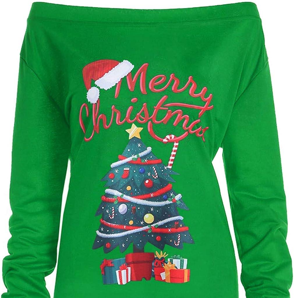 iNoDoZ Women Xmas Print Letter Dress Ladies Christmas Tree Long Sleeve Party Dresses