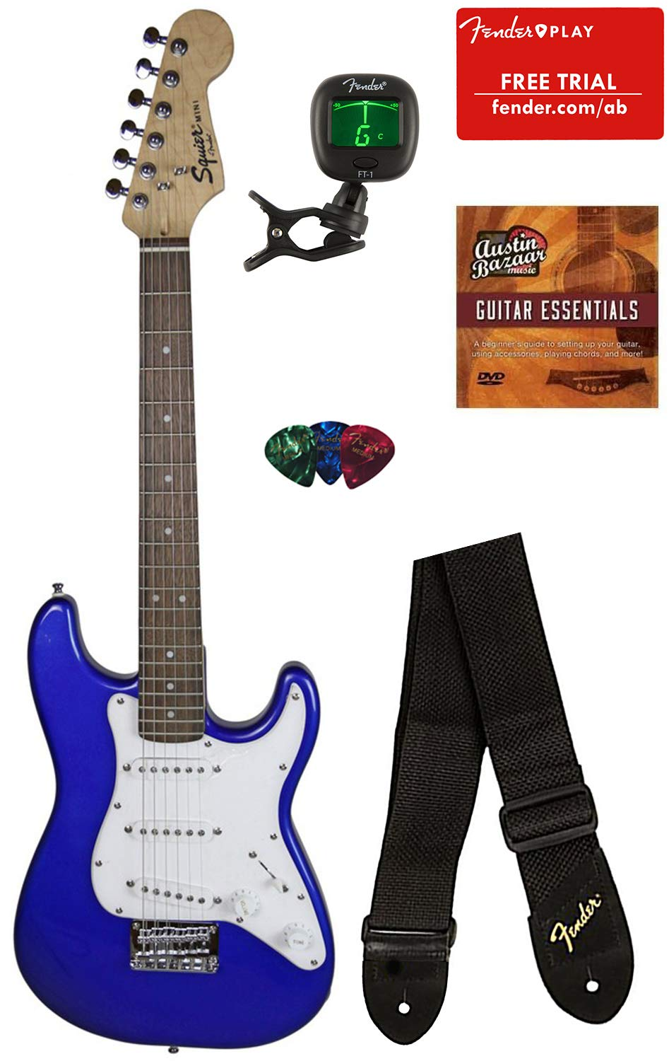 Squier by Fender Mini Strat Electric Guitar - Imperial Blue Bundle with Tuner, Strap, Picks, Fender Play Online Lessons, Austin Bazaar Instructional DVD, and Polishing Cloth by Squier