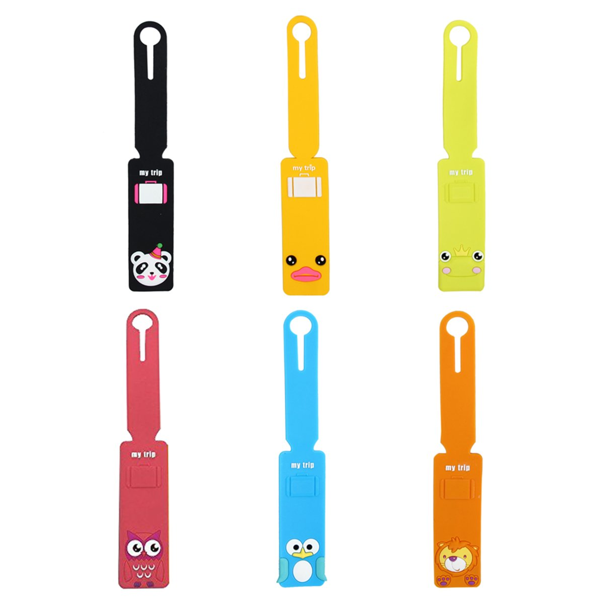Evilandat Silicone Cute Animal Luggage Tag Loops Holders Label ID Personalized Travel Suitcase Box