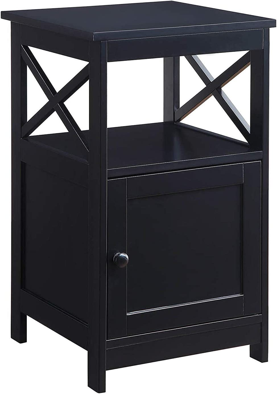 Convenience Concepts Oxford End Table with Cabinet, Black