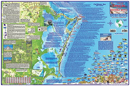 Cancun & Riviera Maya Mexico Adventure & Dive Map Laminated Poster by Franko Maps