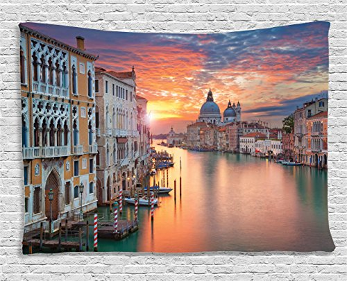 Ambesonne European Cityscape Decor Collection, Image of Grand Canal in Venice Horizon European Town International Heritage Urban, Bedroom Living Room Dorm Wall Hanging Tapestry, 60 X 40 Inches, ()