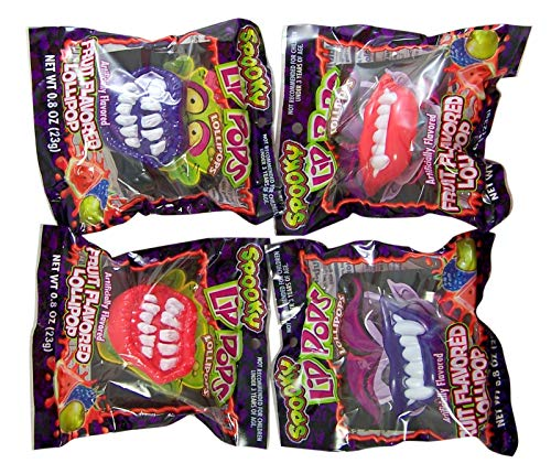 Halloween Spooky Lips Fruit Flavored Lollipops, Pack of 4 -