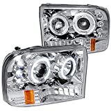 Spec-D Tuning 2LHP-F25099-TM Ford F250 F350 Led Chrome Clear Projector Halo Head Lights