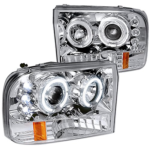 Spec-D Tuning 2LHP-F25099-TM Ford F250 F350 Led Chrome Clear Projector Halo Head (Projector Chrome Clear Headlight)