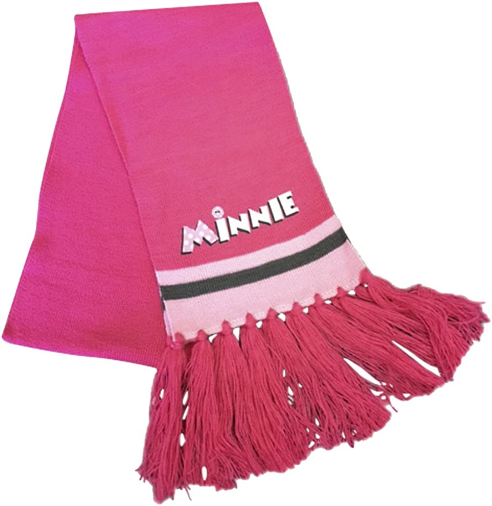 Childrens Boys Girls Disney Minnie Mouse//Cars Warm Thick Knit Winter Hat and Scarf Set with Pom Pom