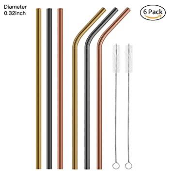 c06d8dc6f0b Metal Straws Stainless Steel Straws FoYoung Reusable Drinking Straws with  Brushes for 20 30OZ Yeti Tumbler