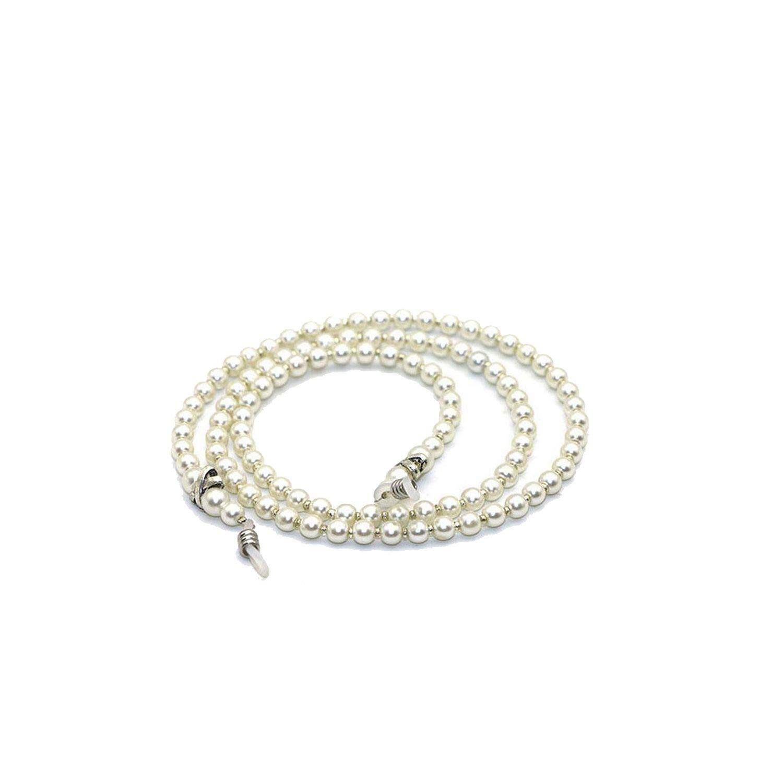 White Acrylic Beaded Women Cord Glass Chain Reading Eyewear Neck Strap Eyeglass Holder Red Cord Glasses Strap by RHYS DOBSON