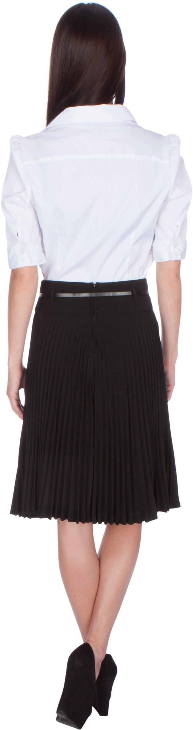 Sakkas FV3543 Knee Length Pleated A-Line Skirt with Skinny Belt - Black/X-Large by Sakkas (Image #4)
