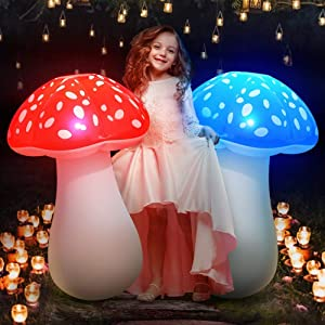 MeiGuiSha Solar Lights Outdoor Garden Decor 32″ Inflatable Mushroom Garden Decor for Outside, Backyard, Step, Path, Courtyard(2 Pack)
