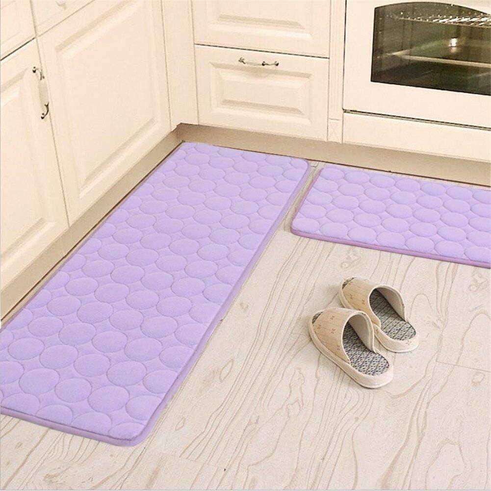 Amazon Com Camal Kitchen Rugs 2 Pieces Non Slip Memory Foam Kitchen Mat Rubber Backing Doormat Runner Rug Set 16 X24 16 X48 Purple Home Kitchen