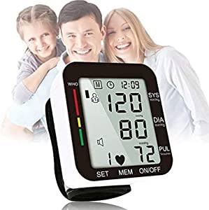 ASDF Voice Automatic Wrist Blood Pressure Monitor, Home Blood Pressure Meter, Accurate Fast Reading, 2 X 99 Reading Memory with LCD Display