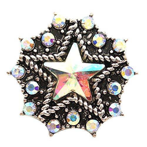 Lovmoment 20mm Five-star Shape with Rhinestones Snap Jewelry Accessory (pink&orange)