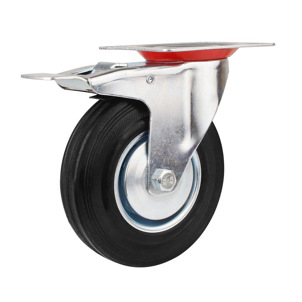 2 x /Ø 125mm Ruedas 2 x ruedas /Ø 125mm ricino con frenos, 100 kg por rollo Ruedas de Transporte de transporte Ruedas cargas pesadas rollos de muebles