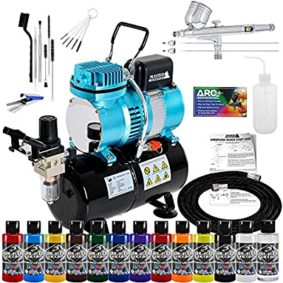 Master Airbrush Cool Runner II Dual Fan Air Tank Compressor System Kit with Professional G233 Gravity Airbrush Kit with 3 Tips, 12 Createx Wicked Colors Acrylic Paint Artist Set, Airbrush Cleaning Kit