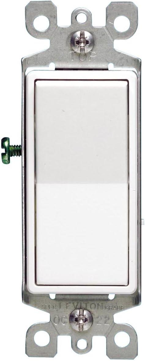 Leviton 5603-2WM 15 Amp, 120/277V Decora Rocker 3-Way AC Quiet Switch, 5-Pack, White