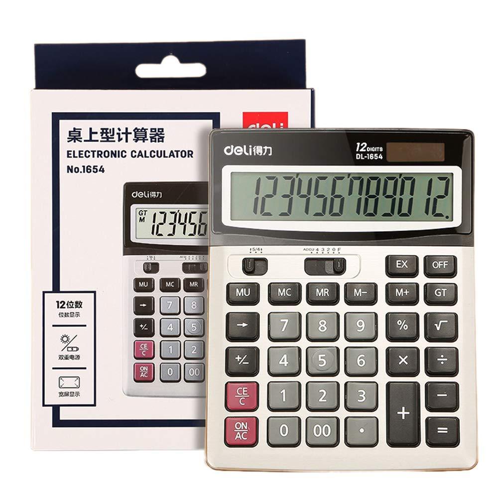 Desktop Calculator, Large Button Office Calculator, 12-Digit Digital Display Large Screen Solar Dual Power Battery Calculator ZDDAB