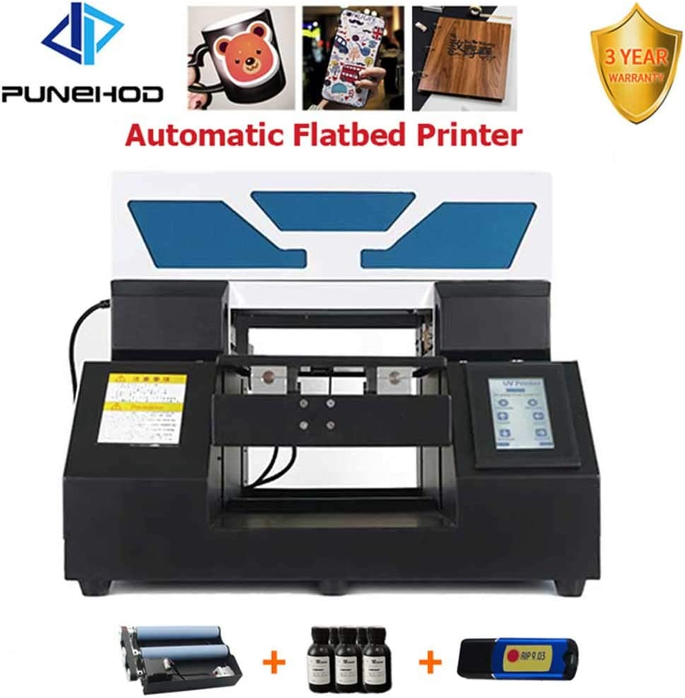 Impresora automática UV plana A4 para tarjeta de identificación, teléfono celular, carcasa de cristal y metal con soporte para botellas de molde.