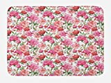 Ambesonne Watercolor Bath Mat, Pink Peonies and Roses Green Leaves Exotic Gentle Bouquet Bridal Wedding Theme, Plush Bathroom Decor Mat with Non Slip Backing, 29.5 W X 17.5 W Inches, Multicolor