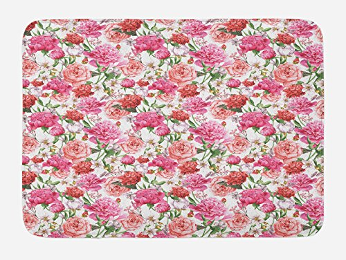 """Ambesonne Watercolor Bath Mat, Pink Peonies and Roses Green Leaves Exotic Gentle Bouquet Bridal Wedding Theme, Plush Bathroom Decor Mat with Non Slip Backing, 29.5"""" X 17.5"""", Pastel Pink"""