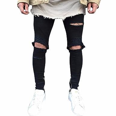 Celucke Herren Jeans Hose,Männer Röhrenjeans Ripped Slim Fit Motorrad  Vintage Denim Jeanshosen Hiphop Streetwear 47bebcc7bd