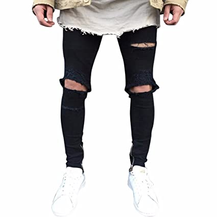 Qmber Jeans Herren Slim fit Schwarze Skinny Destroyed Hose Herren Jeans Destroyed Sommer Hosen Herren Jogger Jeans mit löcher