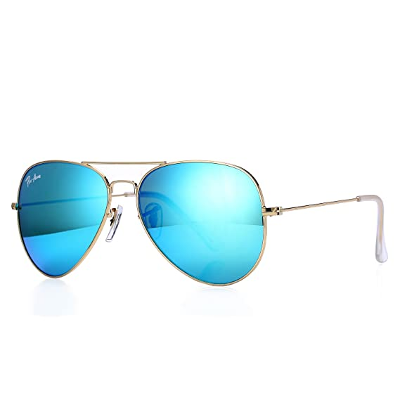3aad1143f81 Pro Acme Aviator Crystal Lens Large Metal Sunglasses (Gold Frame Crystal  Green Mirrored Lens