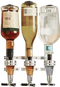 YSISLY Bottle Liquor Dispenser, Wall Mounted Beverage Bottle Stand,Drink Dispenser Holder Rack Bar Bottle Holder, Wine Beverage Dispenser Rack for Home Bar Cocktail Beer, Soda,Drink (3 Bottle)