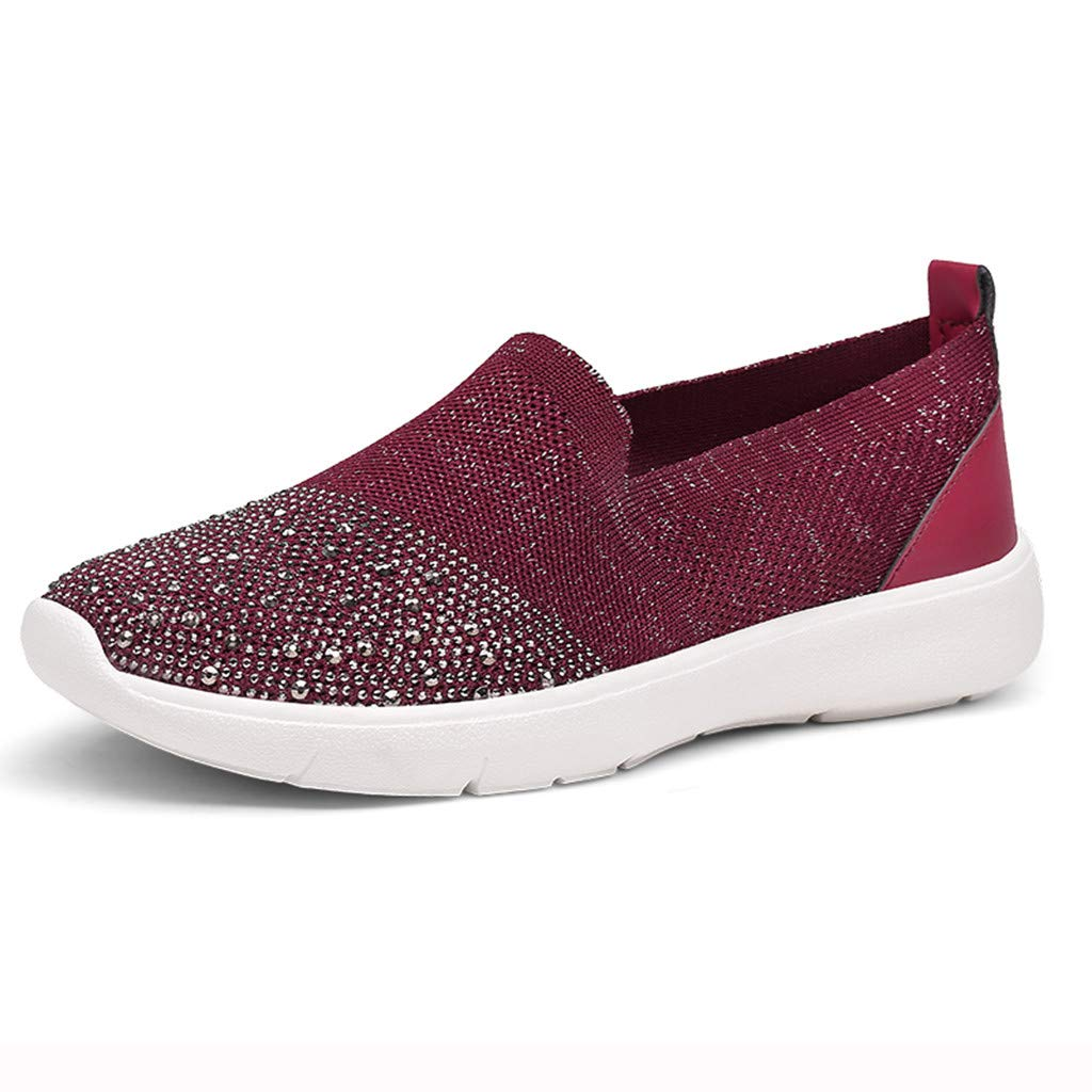 Fashion Respctful ♫♫Womens Casual Walking Canvas Sneaker Shoes Slip On Comfort Flats Sneakers Wine