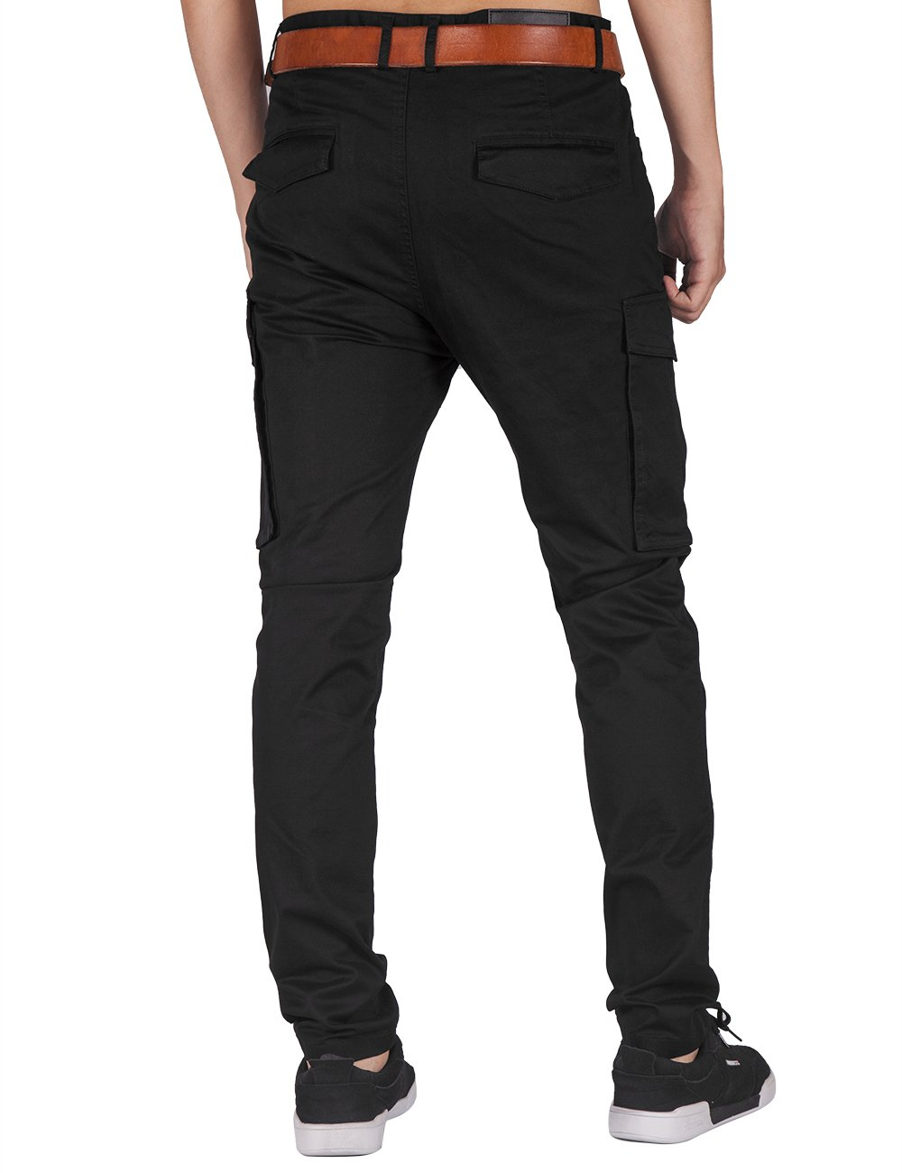 ITALY MORN Men Chino Cargo Jogger Pants Casual Twill Khakis Slim fit Black (S, Black) by ITALY MORN (Image #5)