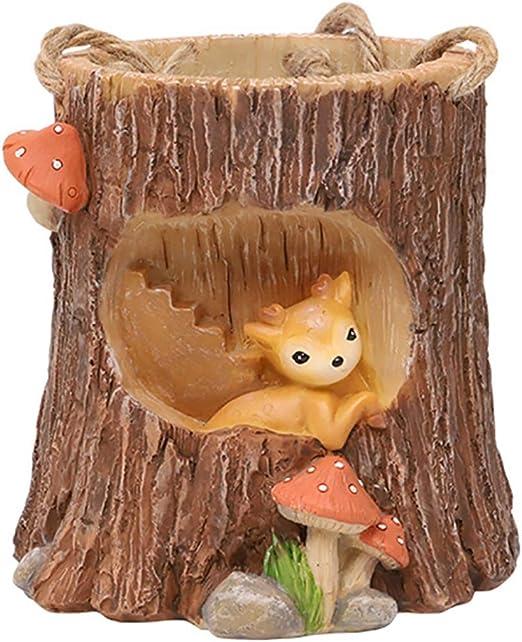 Justdolife Plant Pot Resin Tree Stump Cartoon Animal Succulent Vase Hanging Flower Pot Amazon Co Uk Welcome
