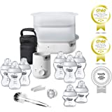 TOMMEE TIPPEE Essentials Starter Kit with Steriliser, Baby Feeding Bottles, Bottle Cleaning Brush and Bottle Warmer,