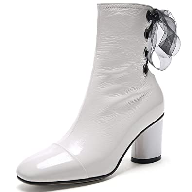 fa1beaf47 Nine Seven Patent Leather Women s Square Toe Block Heel Lace Up Sexy  Handmade Dressy Ankle Boots
